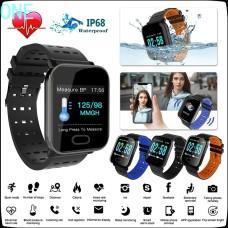 Βιομετρικό Αδιάβροχο Ρολόι Smart Watch Άθλησης με Οξύμετρο, Παλμογράφο, Πιεσόμετρο, Μέτρ. Βημάτων & Ύπνου-Activity Health & Fitness Tracker - Μαύρο