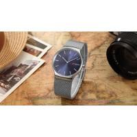 Αδιάβροχο ρολόι Unisex Curren M8256 με ασημί μπρασελέ από ανοξείδωτο ατσάλι, μεταλλική ασημί κάσα με μπλε καντράν και ασημί δείκτες