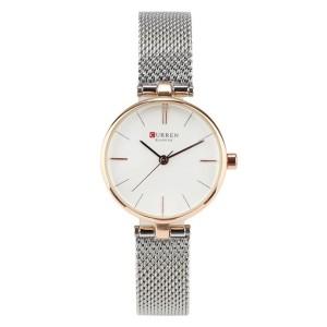 Γυναικείο ρολόι χειρός Curen C9038L Ασημί-Ροζ gold