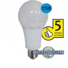 Λάμπα LED E27 A70 15W Θερμού Φωτισμού - OPTONICA